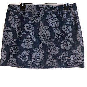 Abercrombie & Fitch Metallic Rose Denim Skirt 10